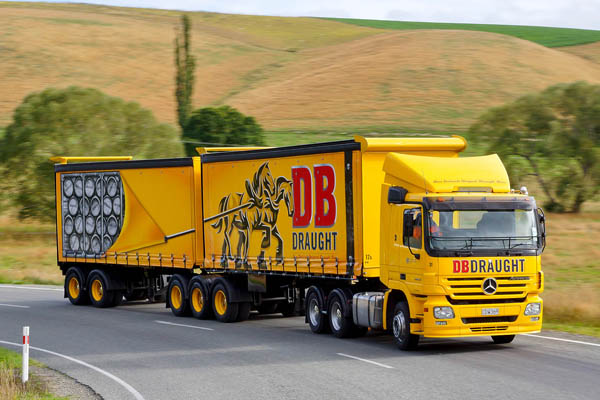 Lorry livery with illustrative detail created by Designworks for award winning New Zealand draught ale DB Draught