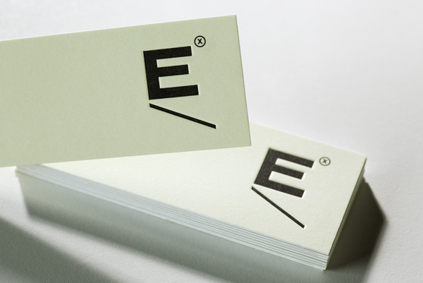 Logo and print with black embossed ink detail designed by Blok for Mexican industrial design studio Etxe
