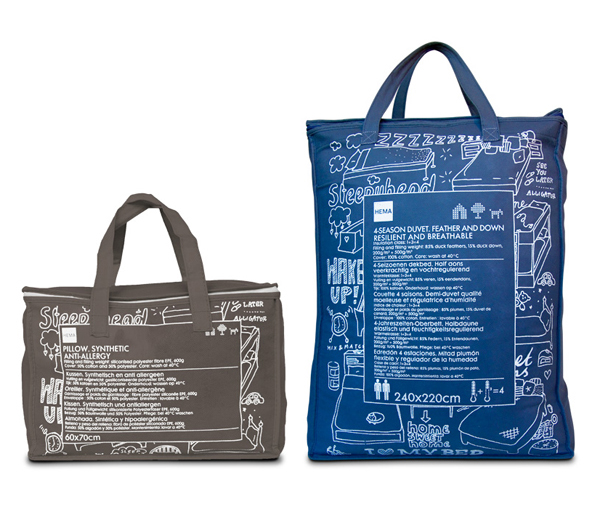 Packaging featuring a white ink across a canvas bag designed by Studio Kluif for Hema's Dekbed range