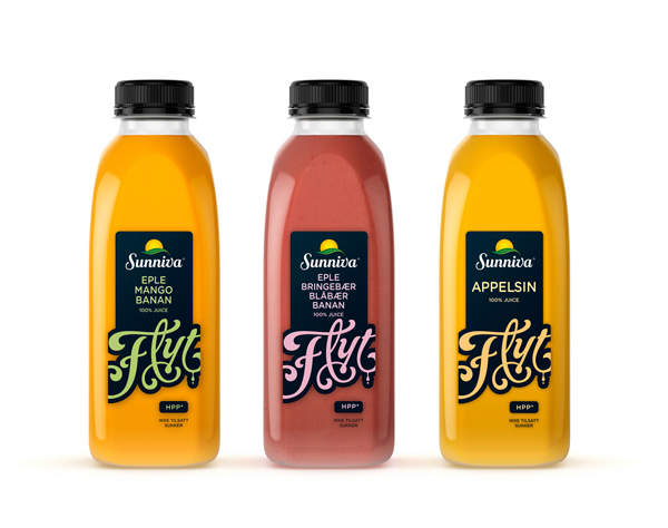 Packaging with script detail designed by Strømme Throndsen for Flyt, a new range of juices from Norwegian producer Sunniva