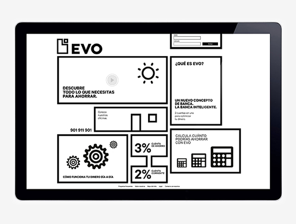 Logo and geometric, monochromatic website for Spanish Bank Evo designed by Saffron