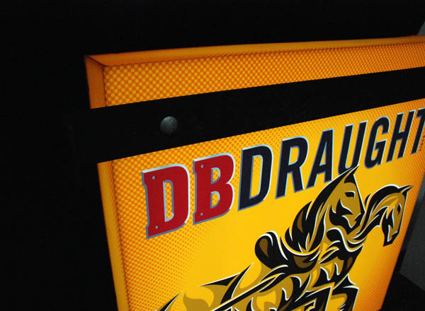 Sign with illustrative detail created by Designworks for award winning New Zealand draught ale DB Draught