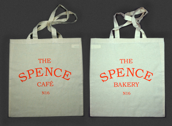 Logo and tote bag designed by Joe Hinder working at Hike Design for cafe bakery The Spence