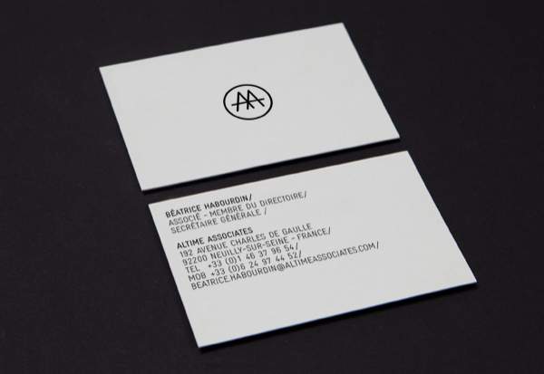 Logo and business card design by Fiftree for French consulting and management firm Altime Associates