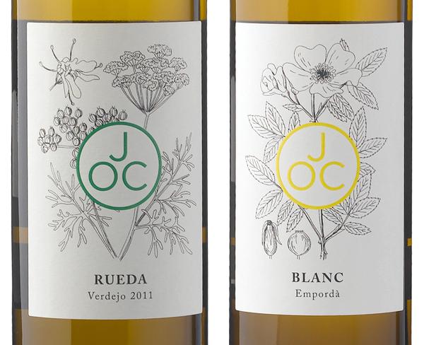 Monogram and hand illustrated wine label designed by Francesc Moret for wine range Jordi Oliver Conti