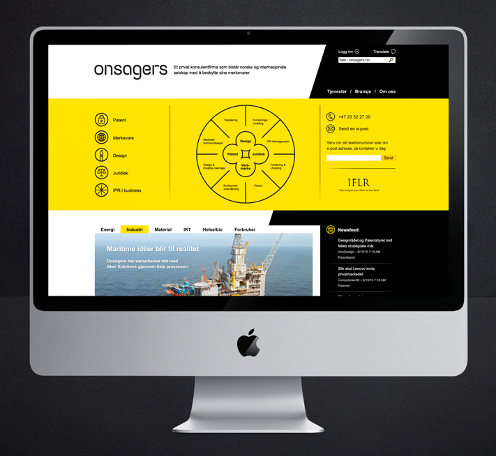 Logo and website designed by Uniform for intellectual property specialist Onsagers