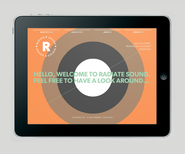 Logo and website designed by Bradley Rogerson and Supply for recording and engineering studio Radiate Sound