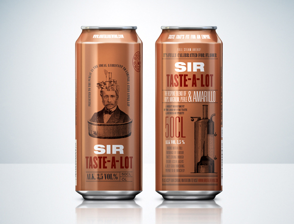 Packaging with illustrative detail and copper still print finish designed by Neumeister for low alcohol beer brand Sir Taste-A-Lot