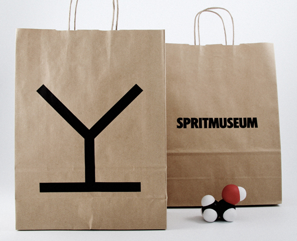 Logo and uncoated unbleached bags designed by Stockholm Design Lab for spirit themed art gallery, museum, tasting room and bar Spritmuseum