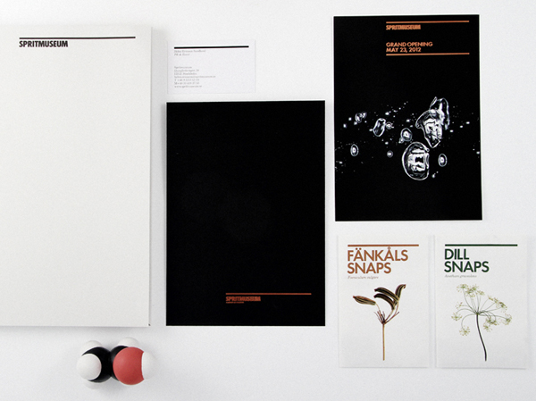 Logo and print designed by Stockholm Design Lab for spirit themed art gallery, museum, tasting room and bar Spritmuseum