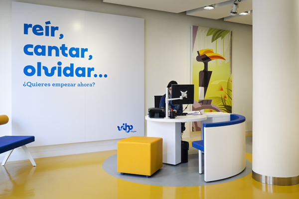 Logo and interior signage designed by Saffron for Spanish high street travel agent Vibo