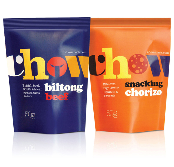 Packaging for UK based snack food brand Chow created by Studio h