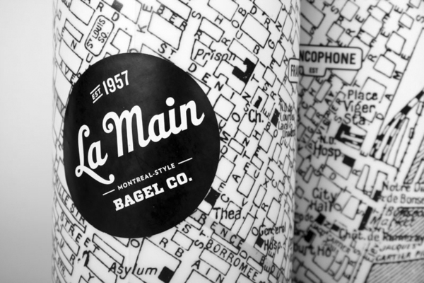 Packaging with vintage map based illustrative detail designed by Ugo Varin for La Main Bagel Co.