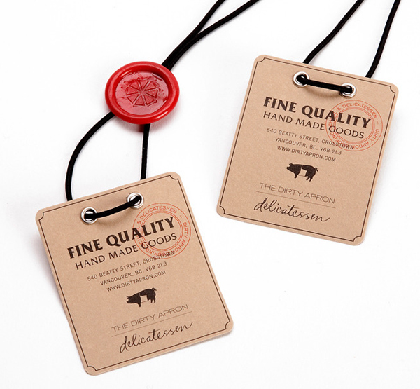 Unbleached uncoated paper tags created by Glasfurd & Walker for delicatessen The Dirty Apron