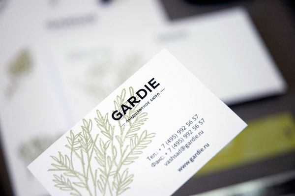 Logo and business card with hand drawn coloured pencil plant illustrations by Paradox Box for landscaping business Gardie