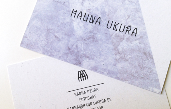 Logo and business cards with marble pattern detail by Dalston for Swedish portrait and fashion photographer Hanna Ukura