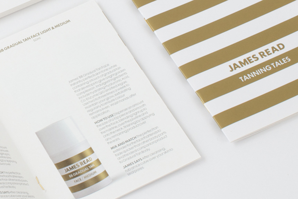 Print with gold spot colour detail promoting James Read's premium tanning range designed by Studio Makgill