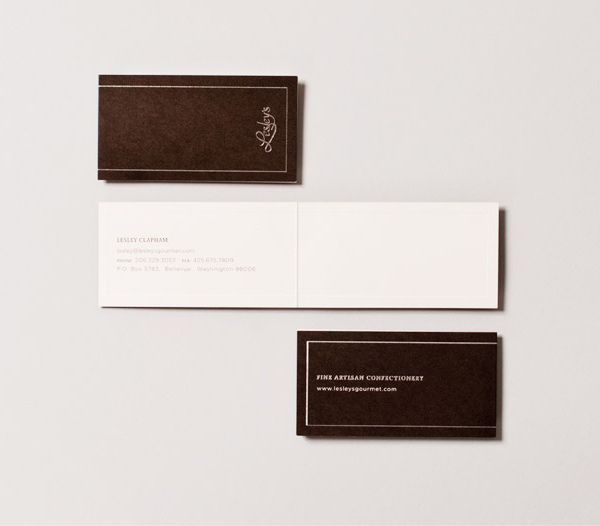 Logo and business cards with silver foil detail designed by YUI Studio for US based confectioner Lesley's Gourmet