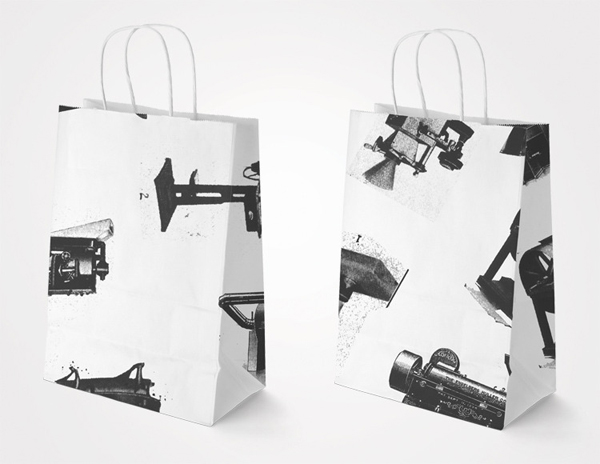 Paper bags with vintage photography detail designed by Luke Brown for coffee roastry and cafe Ruben Hills