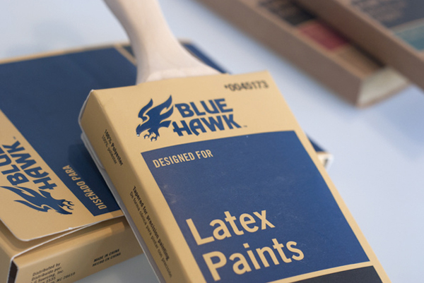 Packaging designed by United for Lowe's new Blue Hawk paint brush line.