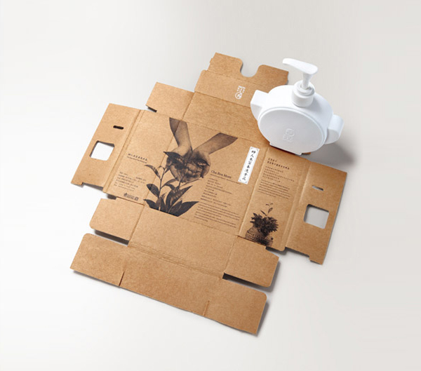Packaging made from uncoated unbleached board with black ink photography designed by Victor Design for Cha Ren More