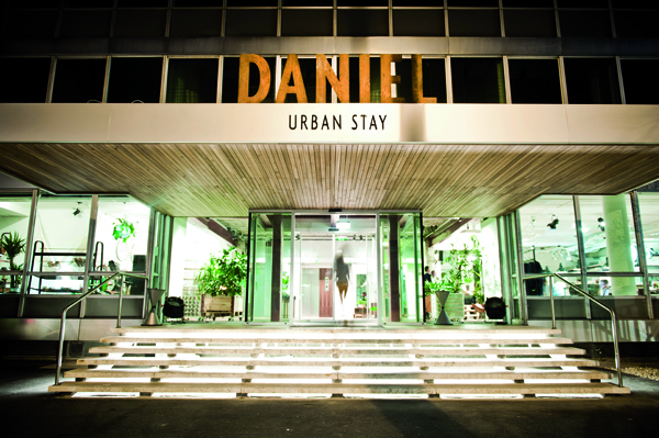Lobby logo and exterior signage designed by Moodley for Vienna and Graz based luxury hotel Daniel