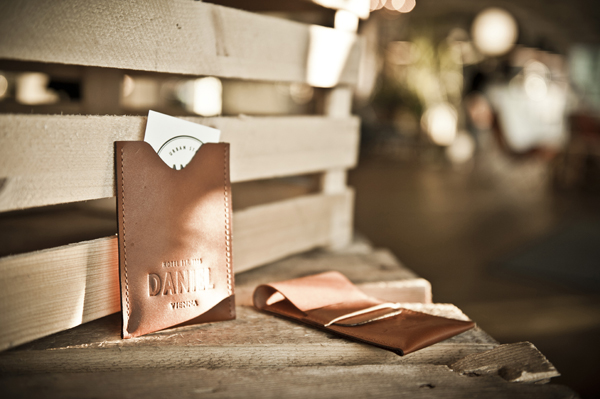 Logo and embossed leather detail designed by Moodley for Vienna and Graz based luxury hotel Daniel