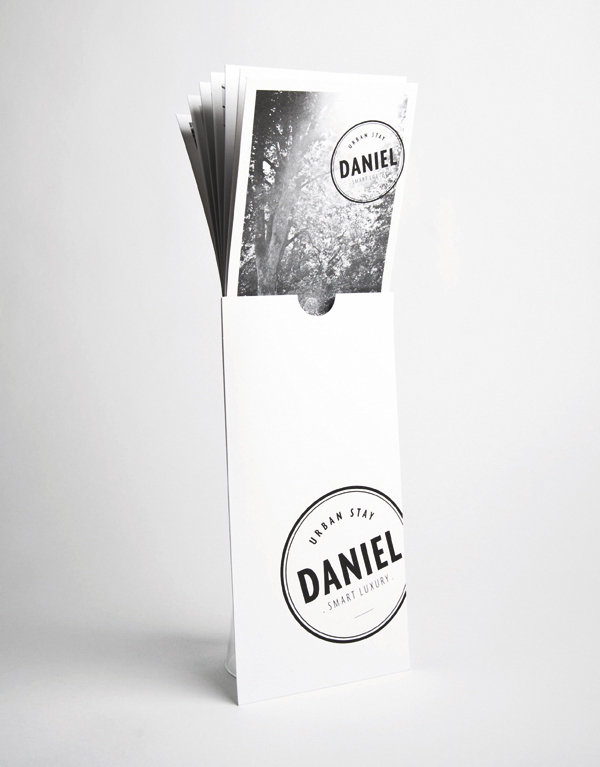 Logo and print with black and white photography designed by Moodley for Vienna and Graz based luxury hotel Daniel