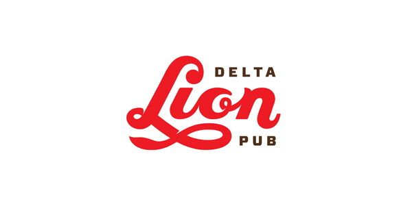 Logo designed by St Bernadine for local drinking and dining spot Delta Lion Pub