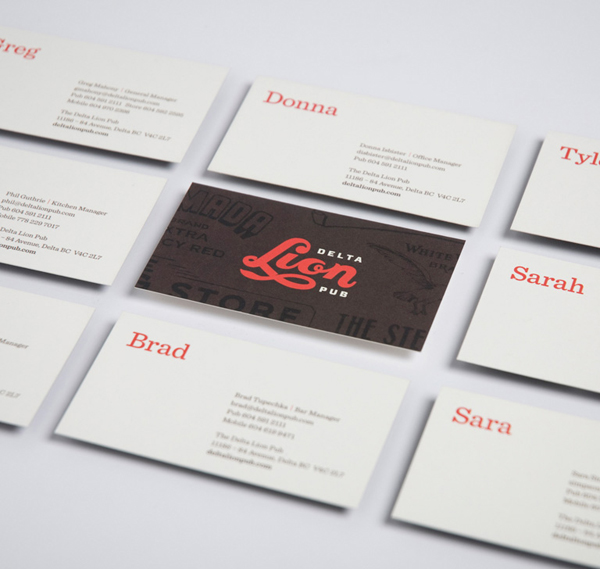 Logo and business card with typographic detail designed by St Bernadine for local drinking and dining spot Delta Lion Pub