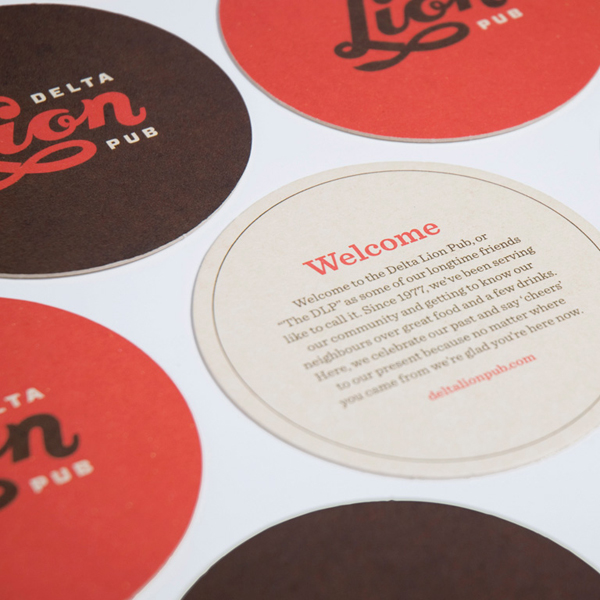 Logo and beer mats designed by St Bernadine for local drinking and dining spot Delta Lion Pub