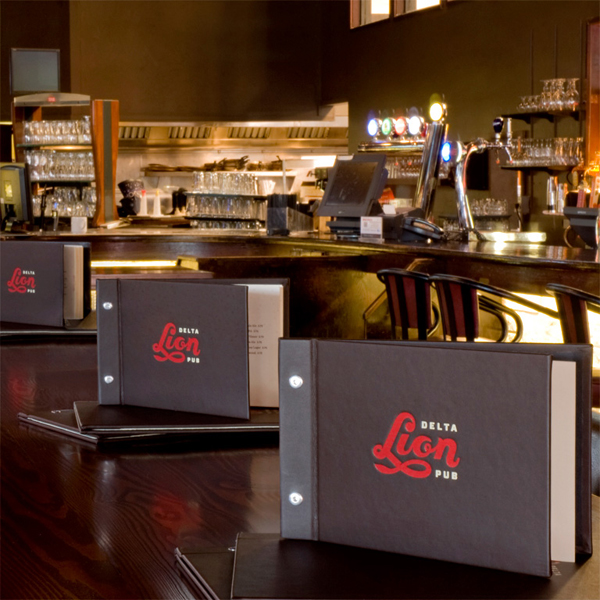 Logo and menus designed by St Bernadine for local drinking and dining spot Delta Lion Pub