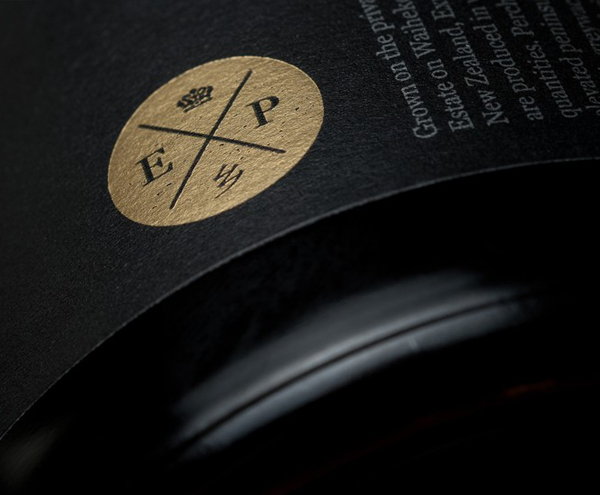 Wine label with gold foil print finish designed by Inhouse for Expatrius Estate