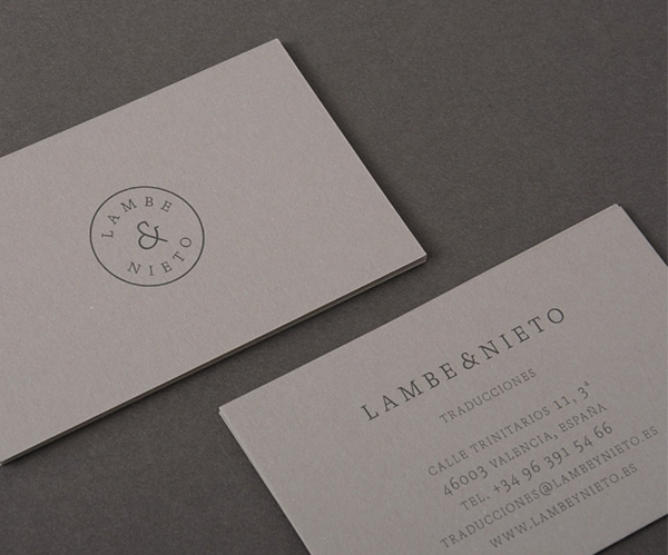 Logo and business card designed by Boscos for Spanish translation service provider Lambe & Nieto