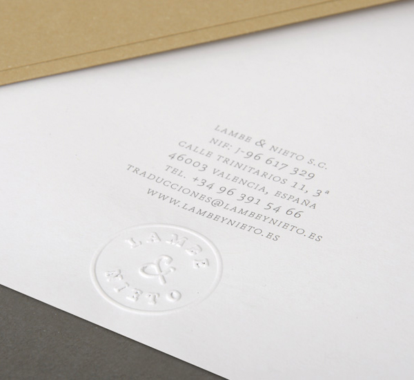 Logo and embossed stationery designed by Boscos for Spanish translation service provider Lambe & Nieto