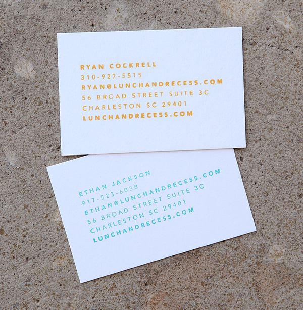 Logo and business card with stamp detail designed by Fuzzco for video production company Lunch And Recess