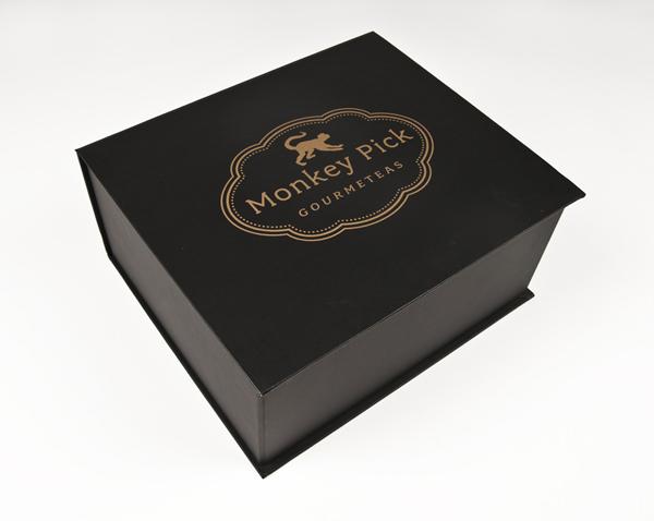 Packaging design by Coba Associates for gourmet tea range Monkey Pick