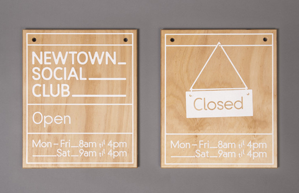 Logo and signage designed by Liquorice Studio for cafe and coffee shop Newtown Social Club