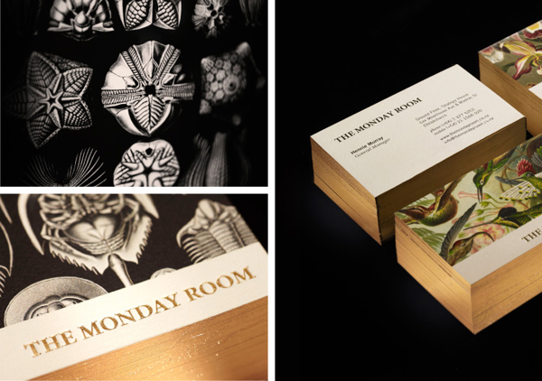 Logo and business card with antiquarian illustrations, gold edge and deboss detail for cafe wine bar The Monday Room designed by Strategy
