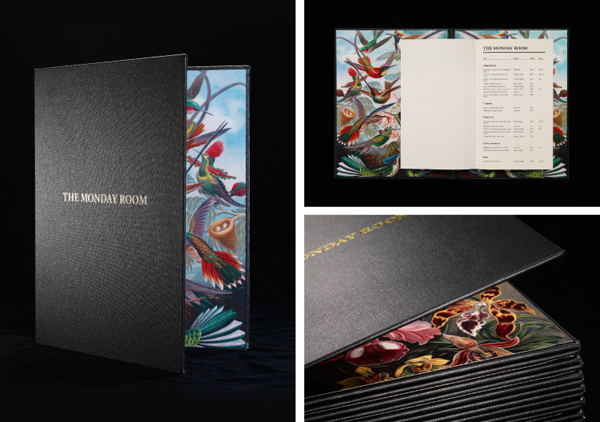 Logo and menu with antiquarian illustrations, leather cover and gold deboss detail for cafe wine bar The Monday Room designed by Strategy