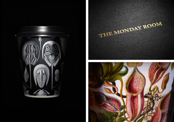 Logo, coffee cup and menu with antiquarian illustrations for cafe wine bar The Monday Room designed by Strategy