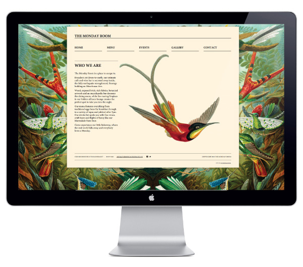 Website with antiquarian illustrative detail for cafe wine bar The Monday Room designed by Strategy