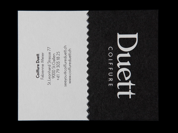 New logo and business card with die cut detail for Swiss hair salon Coiffure Duett designed by Bureau Collective