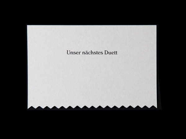 Appointment card with die cut detail for Swiss hair salon Coiffure Duett designed by Bureau Collective