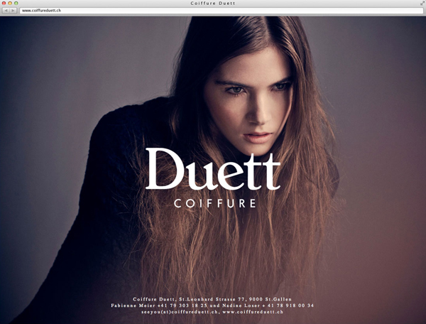 New logo and website for Swiss hair salon Coiffure Duett designed by Bureau Collective