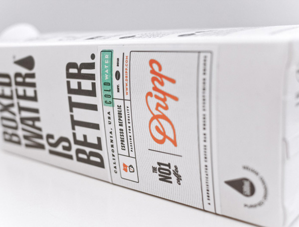 Packaging designed by Salih Kucukaga for coffee bar Dripp's new Boxed Water