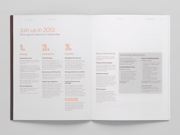 Logo and 2013 program developed by Interbrand under the theme of 'new light' for Melbourne Theatre Company