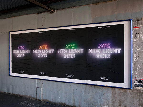 Logo and outdoor advertising developed by Interbrand under the theme of 'new light' for Melbourne Theatre Company