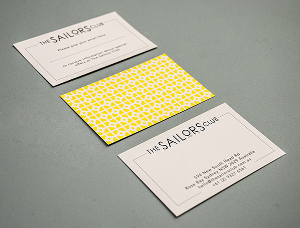 Logo, pattern and business card designed by Folke for Rose Bay restaurant The Sailors Club.