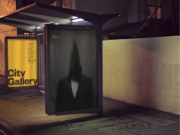 Logo and bus shelter poster series for non-collecting exhibition-based public gallery City Gallery by Designworks